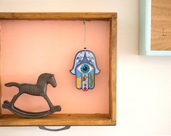 Hamsa Evil Eye Wall Hanging Ornament, Hamsa Hand of Fatima Amulet, Blue Hamsa Evil Eye Protection, Seven Species Hamsa Charm, Jewish Symbol