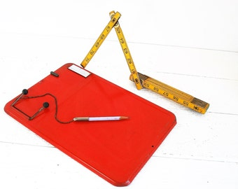 Vintage Red Metal Office Clip Board
