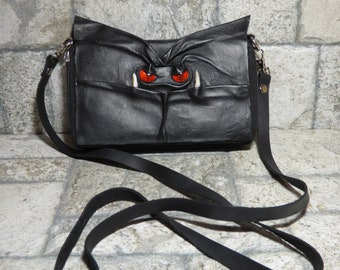 Sac à main portefeuille Cross Body avec visage petit monstre Harry Potter labyrinthe en cuir noir sangle amovible transformable 395