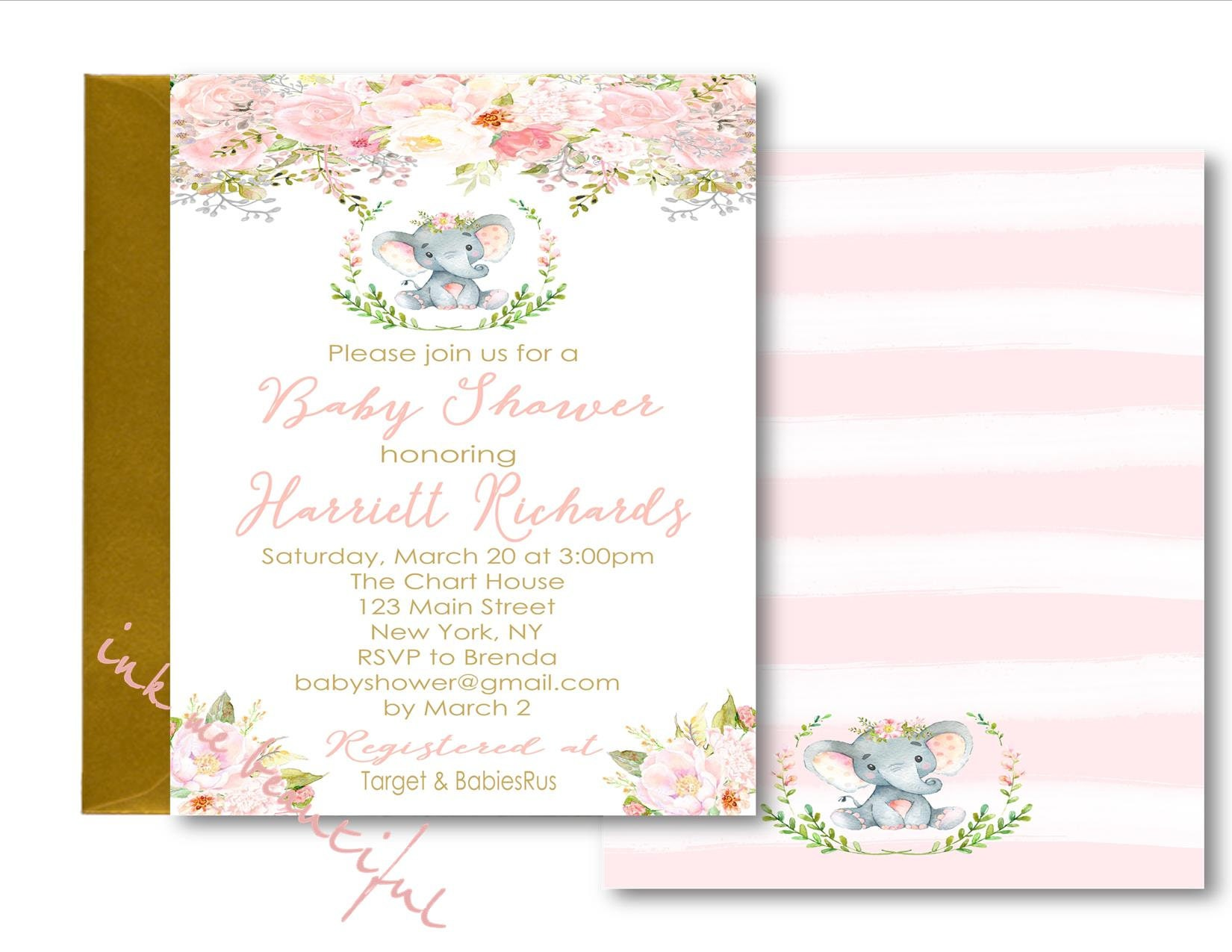 DIGITAL FILE Pink Elephant Baby Shower Invitation Welcome