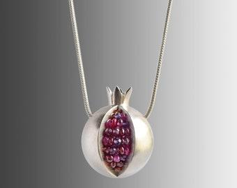 Pomegranate Necklace - Gemstone Matte Brushed Silver - Ruby Silver Pomegranate Necklace - pomegranate jewelry - Gemstone Silver Necklace