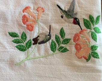 Set of 2 embroidered dish towels, hummingbirds & flowers, flour sack towels, tea towels, kitchen towels, can purchase just one, Mother's Day
