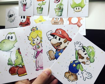 Mario Cards Nintendo Watercolor Postcards Painting, Nintendo Art Mario Cards Watercolor Mario Video Game Art, High Quality Print - Set of 13
