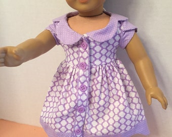 "Lilac colored ""Bluebell"" dress for 18 inch dolls"