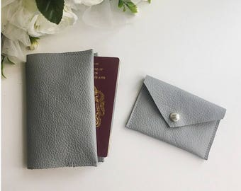 Leather passport cover / Leather card holder and passport holder / grey leather purse / grey leather gift set / gift for her / gift for him