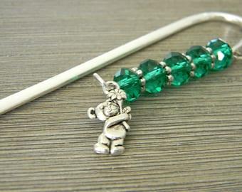 Teddy Bear Bookmark with Green Glass Beads Silver Shepherd Hook Style Bookmark Steel