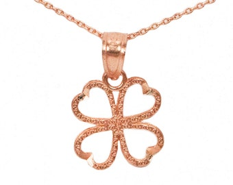 10k Rose Gold Four Leaf Clover Necklace