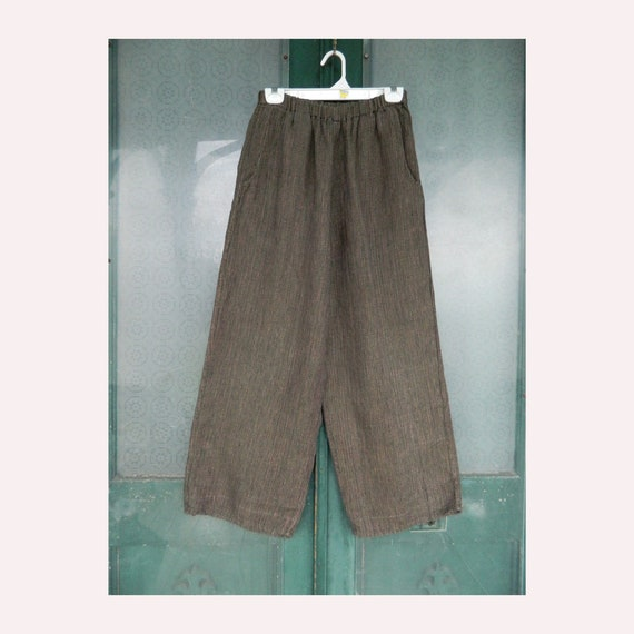 FLAX Engelhart Temperate Long Pants -S- Yarn-Dyed Green Brown Blue Linen