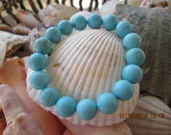 387 turquoise dyed howlite 10mm handmade beaded beach bracelet