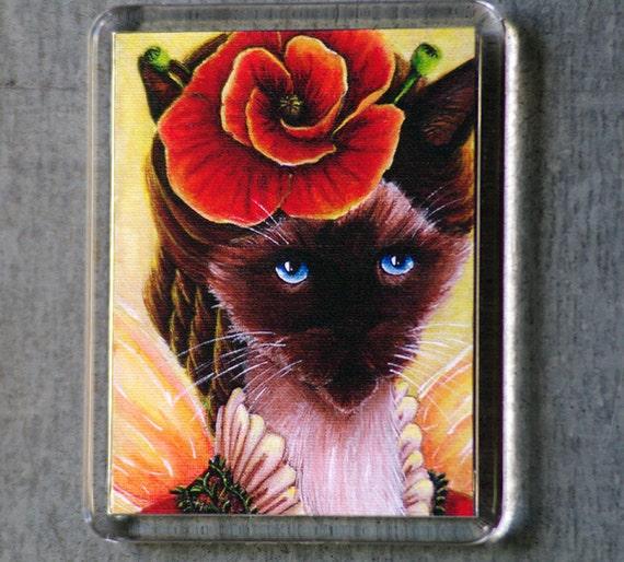 Poppy Cat Magnet, Summer Flower Fairy Siamese Cat Art Fridge Magnet