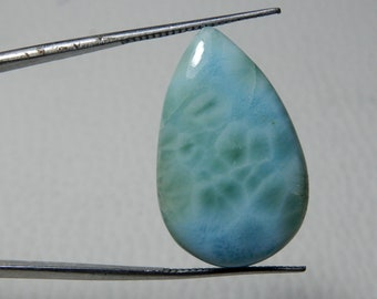 High Grade Natural Larimar Smooth Polished cabochon 27x17x7 MM size Amazing Quality Pear Shape 28.65 Carat For jewellery In low Prize UN41