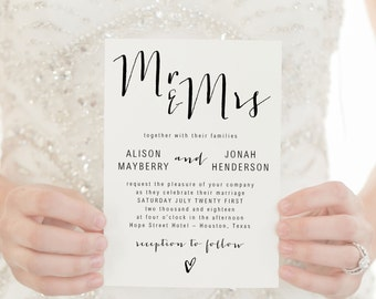 Wedding Invitation Template - Printable Wedding Invitation Suite - Editable Modern Wedding Invite - RSVP - Details - COLOR EDITABLE in Word