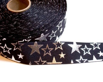 Black Ribbon, Black with Metallic Silver Stars Grosgrain Ribbon 1 1/2 inches wide x 7 yards, SECOND QUALITY FLAWED