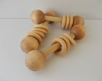Wooden Rattle Teething Toy Organic