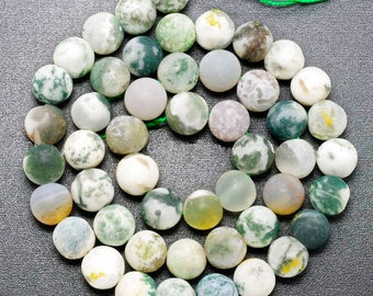 Matte Moss Agate Beads, Green Gemstone Beads, 4mm 6mm 8mm 10mm 12mm, Stone Spacer Beads, Round Natural Beads,