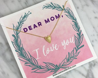 Mom heart necklace, Mother's Day gift, gift for Mom, gift for her, Mom gift, Mom jewelry, Mother's Day card, card for Mom, I love you, Mom