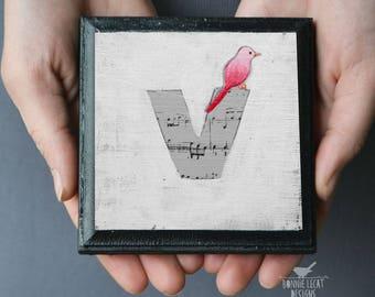 Bird Nursery Decor, Alphabet Block Letter V, ABC Art, Monogram Art, Wall Letters, Alphabet Letter V Art