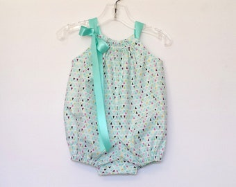 New! Baby Girls Bubble Romper - Rows of Colorful Triangles - Baby Girl Pillowcase Romper - Infant Sun Suit - Size Nb, 3m, 6m, 9m, 12m or 18m