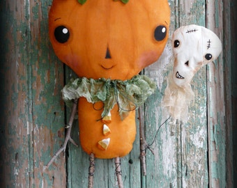 Prim Halloween Pumpkin man pattern - PDF doll Skull balloon fall primitive spooky skeleton cute
