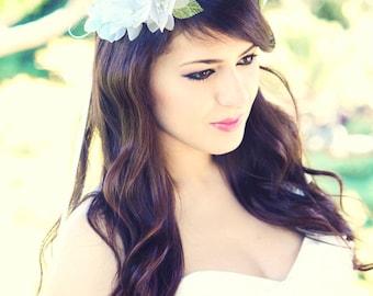 woodland wedding  crown, bridal hair crown, woodland hair crown, flower hair crown, white bridal flower