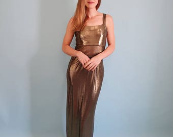 STUNNING Metallic Gold Maxi Dress/Prom Dress