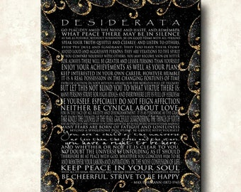 DESIDERATA Print - Contemporary Modern Cafe-Mount 24x36 - Motivational Black with Gold Scrolls