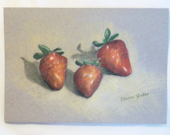 "Original Colored Pencil Drawing - 7 x 9 Inch Still Life - Fruit - Strawberries - Optional 11""x14"" Mat - Kitchen Decor - Fruit Still Life"