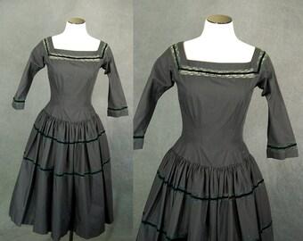vintage 50s Dress - 1950s Black Cotton and Lace Party Dress Cocktail Dress Sz XS S