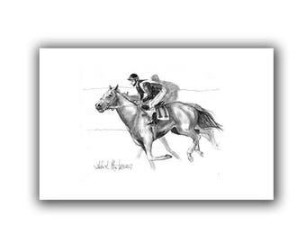 Fun Horse Racing Print Mom Dad Kentucky Derby Thoroughbred Jocky  ART LLMartin