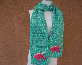 Unicorn Scarf - Aqua - Pink - Women - Pink Unicorn - Crochet - Crocheted, Scarves, Teenage Girl, Niece, Sister, Daughter Gift, MADE TO ORDER