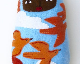 Sky Baby Swaddled Folk Art Doll Birds and Clouds wool applique