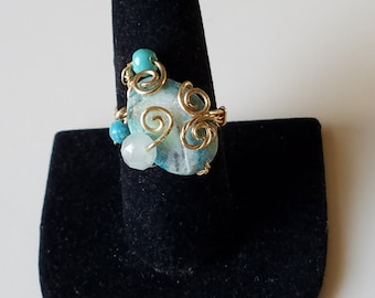 GR37 Turquoise oval ring, gold  wire, size 8