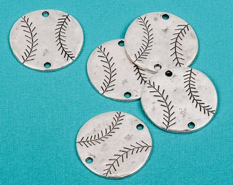 """20 Silver Oxidized BASEBALL Connector Link Charms, stamping blanks, 1-1/4"""" chs1670b"""