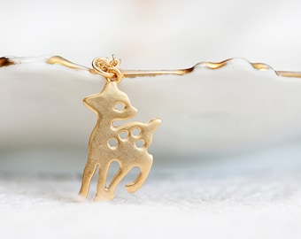 Tiny Bambi Necklace Gold Filled Chain Gold Bambi Deer Charm Little Cute Bambi Woodland Animal Jewelry - N203