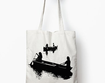 Canoe tote bag, book bag, canvas tote bag