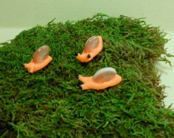 Snails-Set of 3 Orange Glow in the Dark Snails/Fairy Garden/Terrarium Snails-Polymer Clay-OOAK