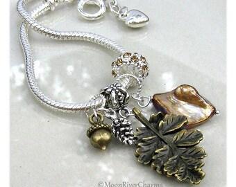 Fall Charm Bracelet Leaf Acorn Pinecone European Bracelet Autumn Nature Topaz Crystal Fall European Charm Bracelet Gift #CBR1031