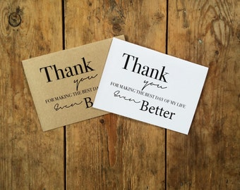 Wedding 'thank you' card, thank you card, pack of 10, thank you card bulk