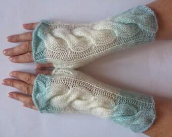 Fingerless Gloves White Green Mint Wormwood wrist warmers