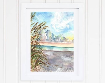 Beach Watercolor Print - Watercolor Landscape Print - Beach Painting - Coastal Wall Art - Ocean - Sea Grass Print -Seascape Watercolor Print