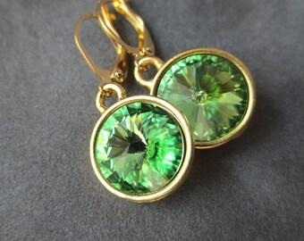 Peridot Jewelry, Gold August Birthstone Earrings, Dangles, Crystal Birthstone Jewelry, Light Green, Peridot Drop Earrings