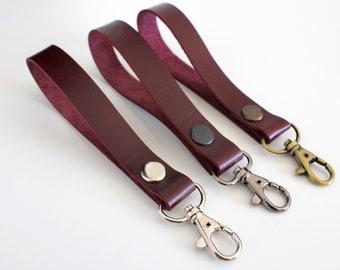 Burgundy Real leather wrist strap. Wristlet strap, Clutch strap, Key strap, Purse strap, Lanyard strap, Key fob, Wristlet keychain leather
