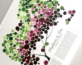 Custom Ketubah Print - Tree of Life and Love Birds - Bilingual Ketubah Hebrew and English - Purple Green Leaves