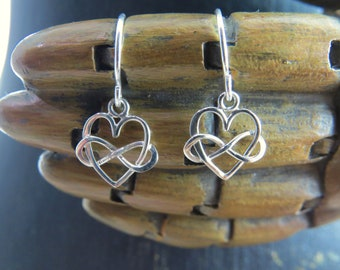 Sterling Silver Infinity Heart Earrings, infinity earrings, heart earrings, heart jewelry, infinity jewelry,  Tiny Infinity Heart Earrings