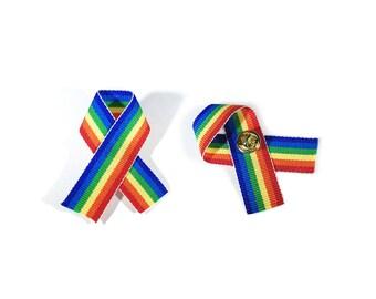 Rainbow Ribbon Pin - LGBTQ, Pride, Support