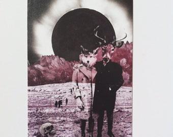 Apoc-Eclipse // original collage art postcard