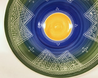 """9"""" Carved Blue Green Yellow Porcelain Serving Bowl"""