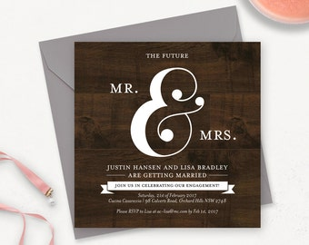Rustic Engagement Invitation Printable / Printable Engagement Party Invites / Engagement Announcement Card / Rustic Wedding Invitation