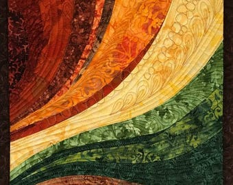 Art Quilt Earthtones Curves 2, Wall Quilt, Wall Hanging