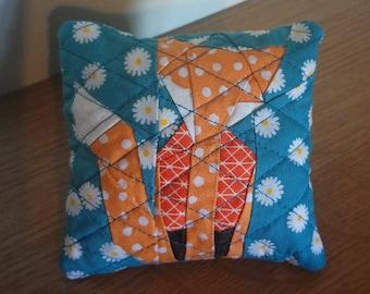 Blue fox pin cushion - quilted pin cushion